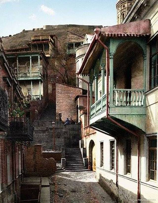 19th century hand colored photograph of Tbilisi's Old Town