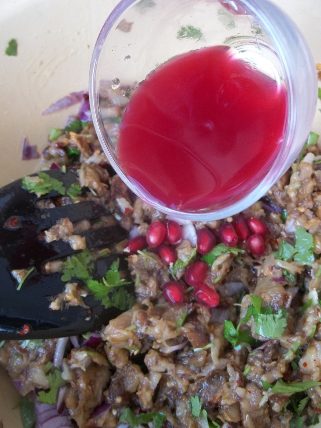 Adding Pomegranate Seeds and Juice for Eggplant Caviar with Pomegranate Recipe