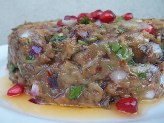 Closeup of Eggplant Caviar with Pomegranate
