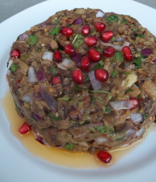 Eggplant Caviar with Pomegranate Ready for Serving