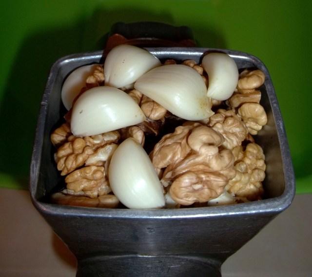 Grinding Walnuts and Garlic