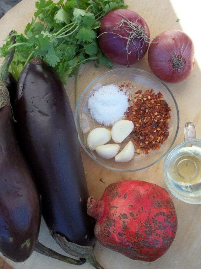 Ingredients for Eggplant Caviar with Pomegranate