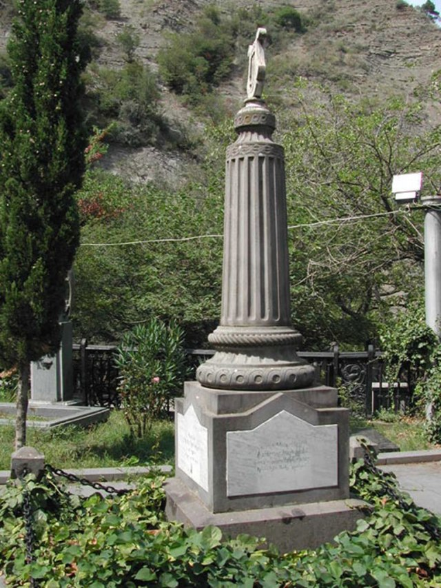Nikoloz Baratashvili memorial stone at Mtatsminda Pantheon in Tbilisi.