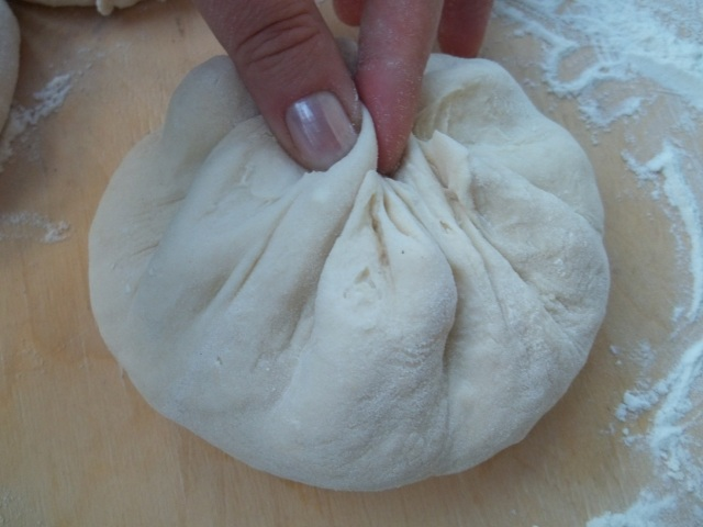 Sealing the Dough for Kubdari Recipe