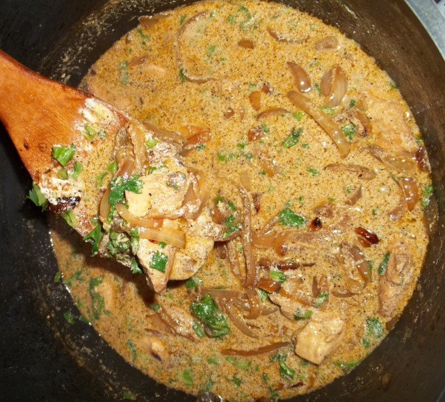 Stirring Chicken with Sour Cream