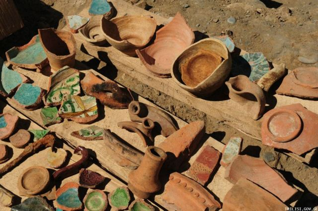 12th Century glazed pottery found during excavations in Pushkin Street in Tbilisi
