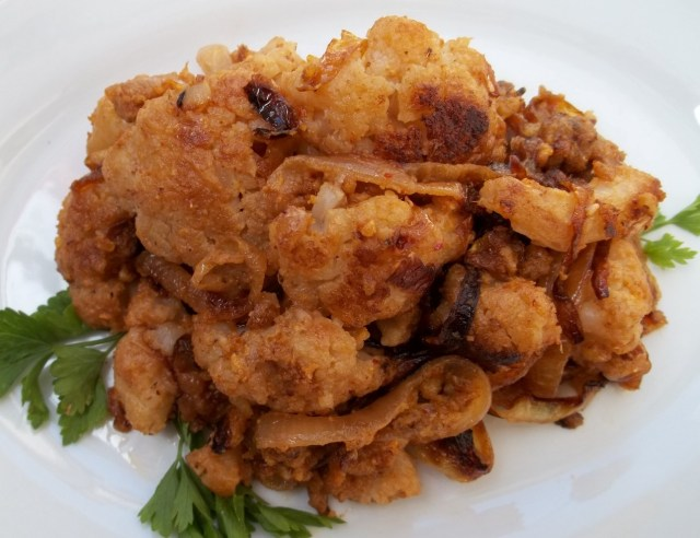 Cauliflower with Walnuts Ready for Serving
