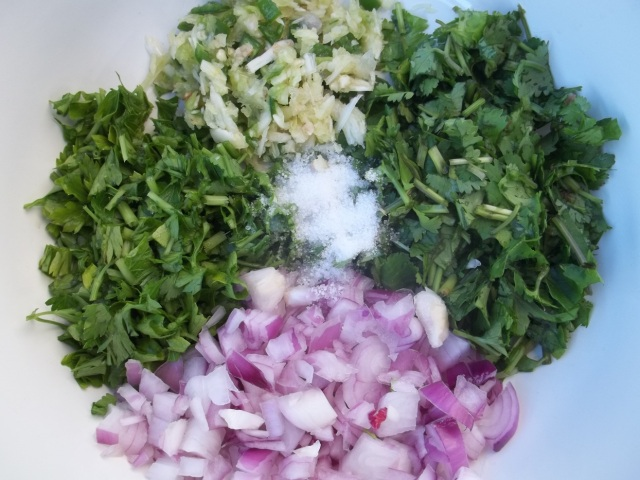 Chopped Ingredients for Eggplant with Coriander and Parsley
