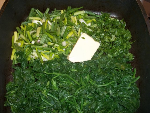 Chopped Onions Parsley and Spinach