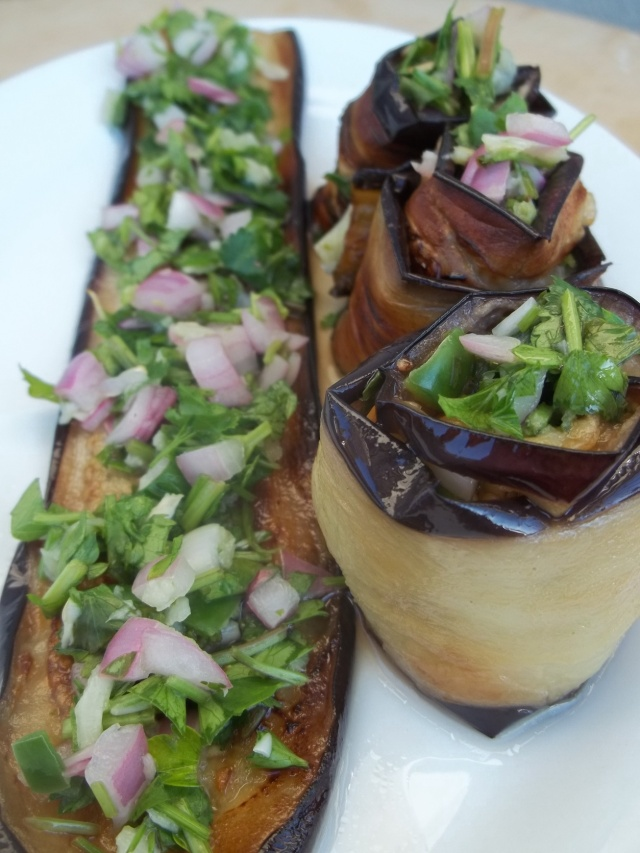 Eggplant with Coriander and Parsley Ready for Serving