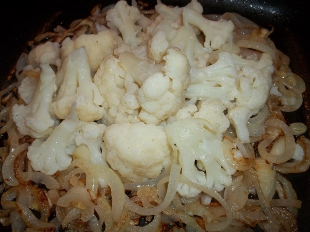 Frying Cauliflower and Onions