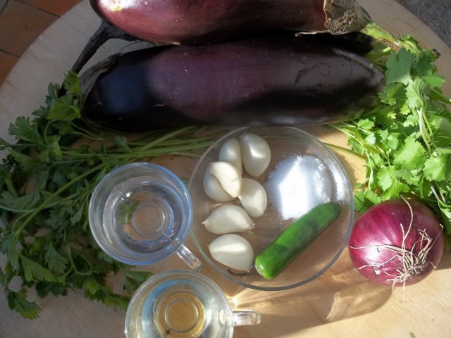 Ingredients for Eggplant with Coriander and Parsley