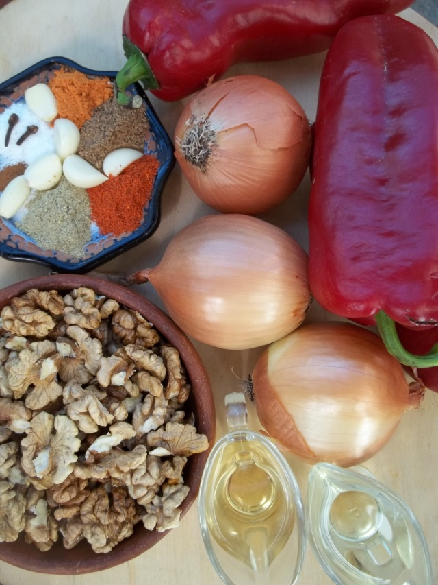 Ingredients for Satsivi with Red Peppers and Onions
