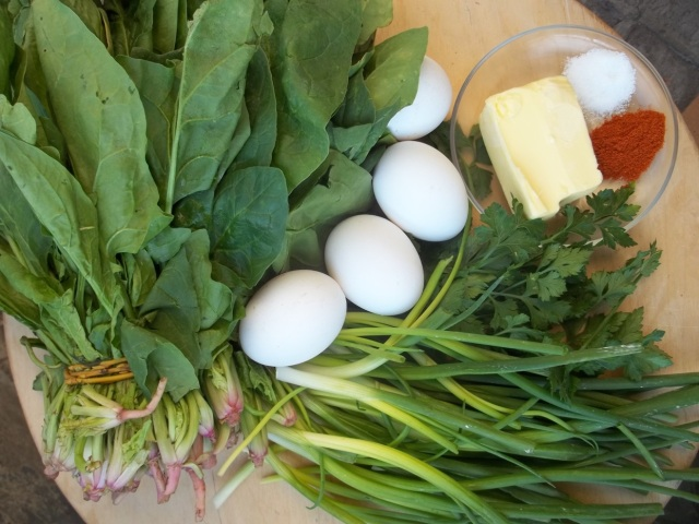 Ingredients for Spinach and Eggs