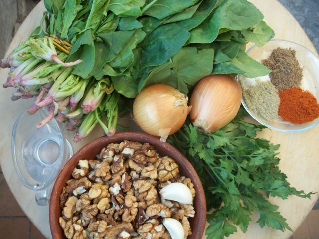 Ingredients for Spinach Pkhali