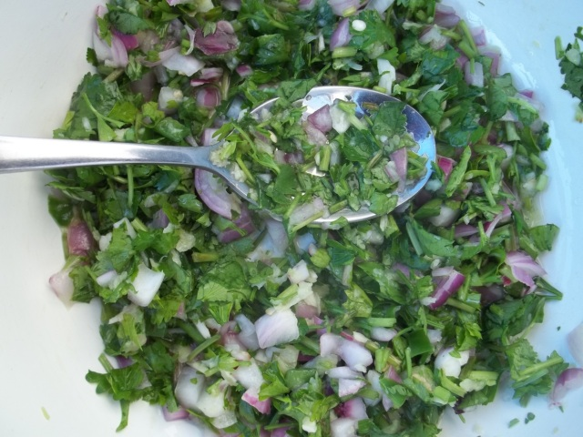 Mixed Ingredients for Eggplant with Coriander and Parsley