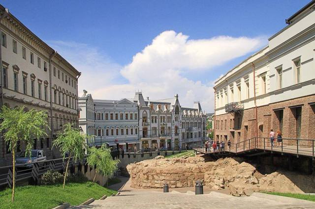 Old Tbilisi City Wall on display in Puskin Street