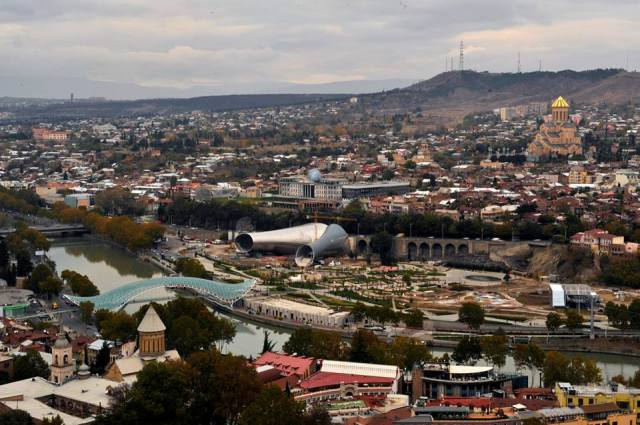 Rike Park, with Sameba Cathedral in the background. Photo courtesy of Tbilisi Government
