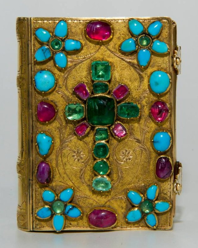 XI century gilded Bible decorated with precious stones.