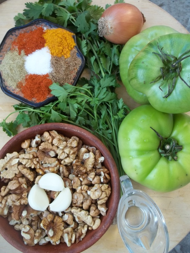 Ingredients for Green Tomatoes with Nuts