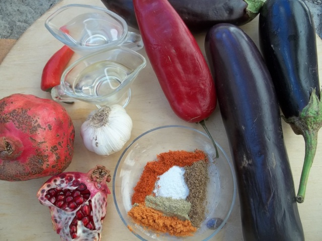 Ingredients for Marinated Eggplant with Pomegranate