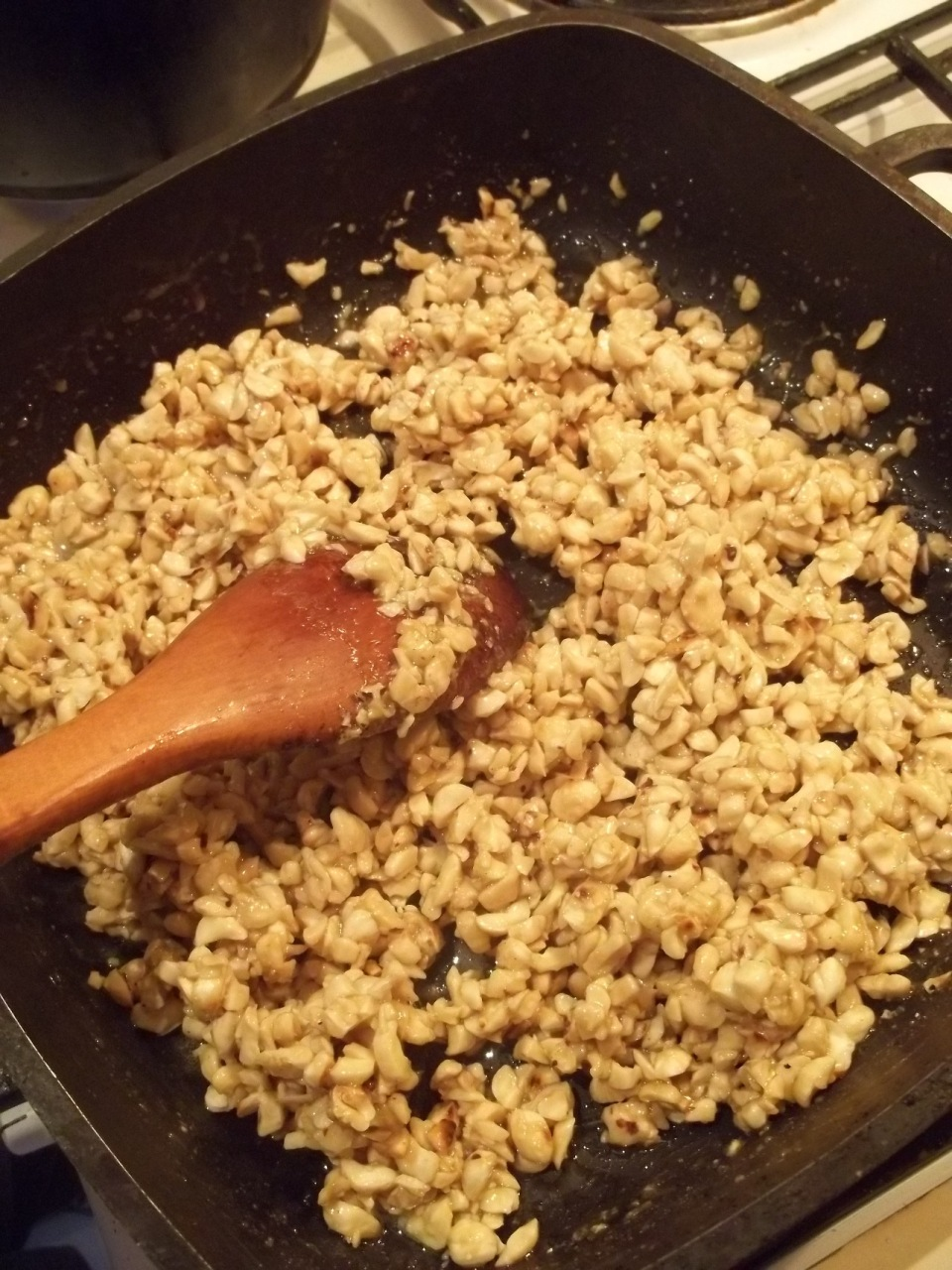 Mixing Hazelnuts with Honey Mixture - Copy