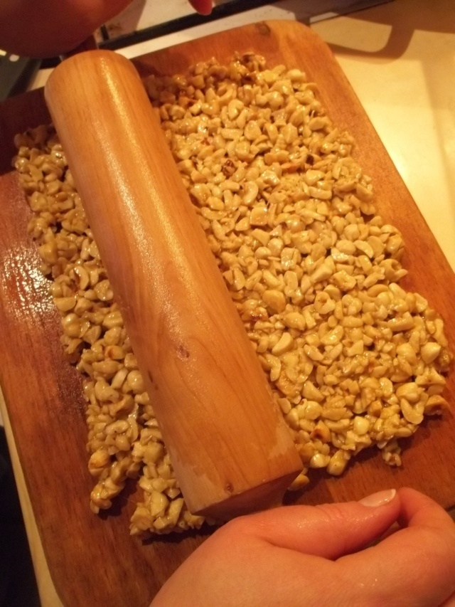 Use a rolling pin to flatten the nut mixture - Copy