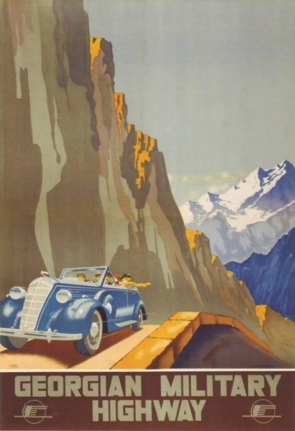 Soviet era tourism poster promoting the Georgian Military Road