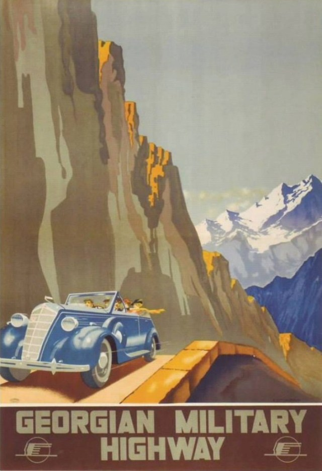 Soviet era tourism poster promoting the Georgian Military Road