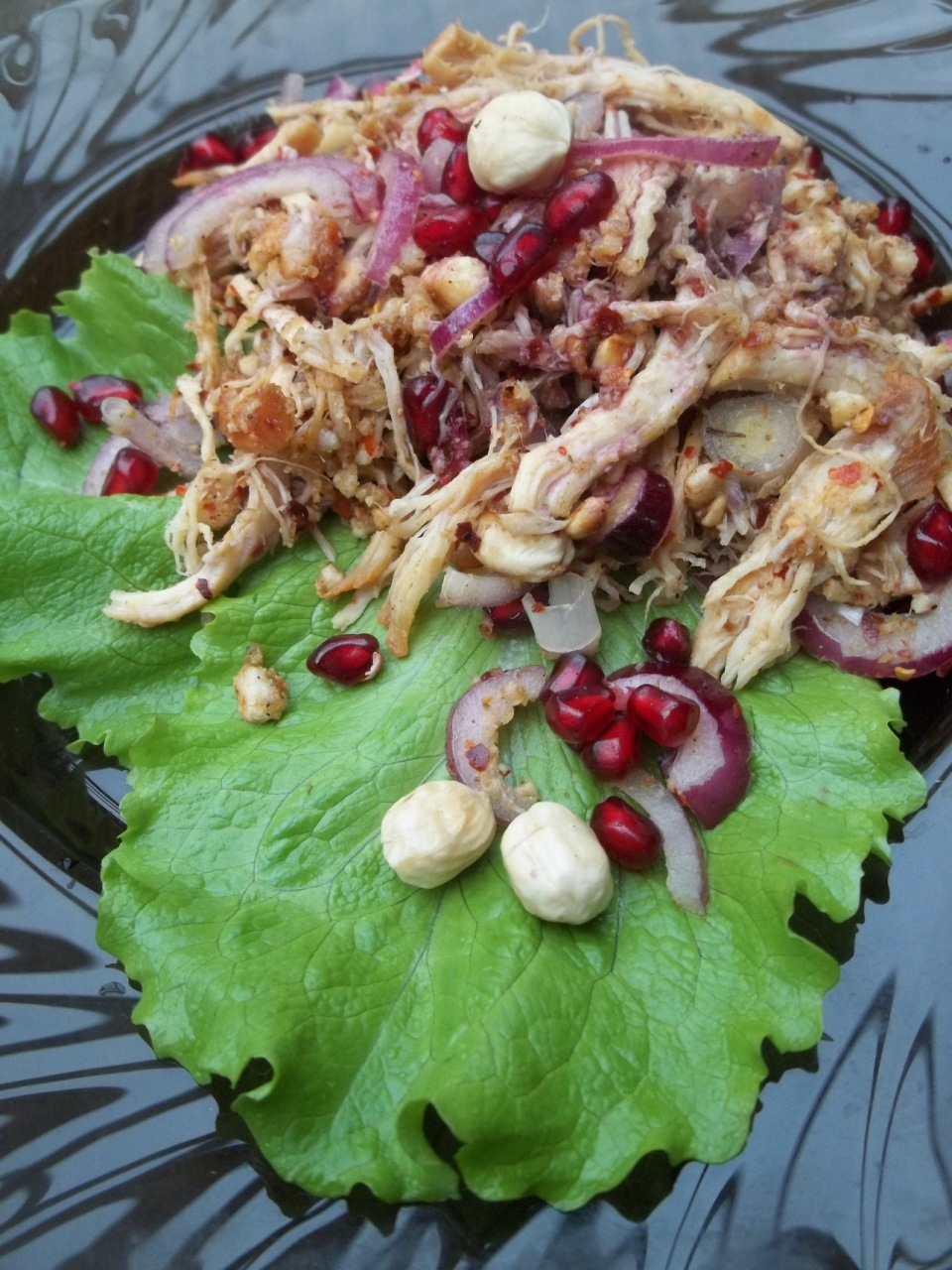 Chicken Salad with Hazelnuts and Pomegranate Sauce ready for serving - Copy