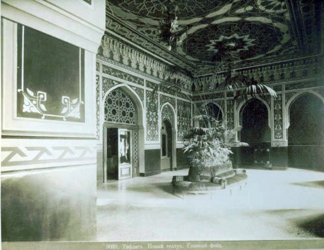 19th century photograph of the interior of the Tbilisi State Academic Opera and Ballet Theatre
