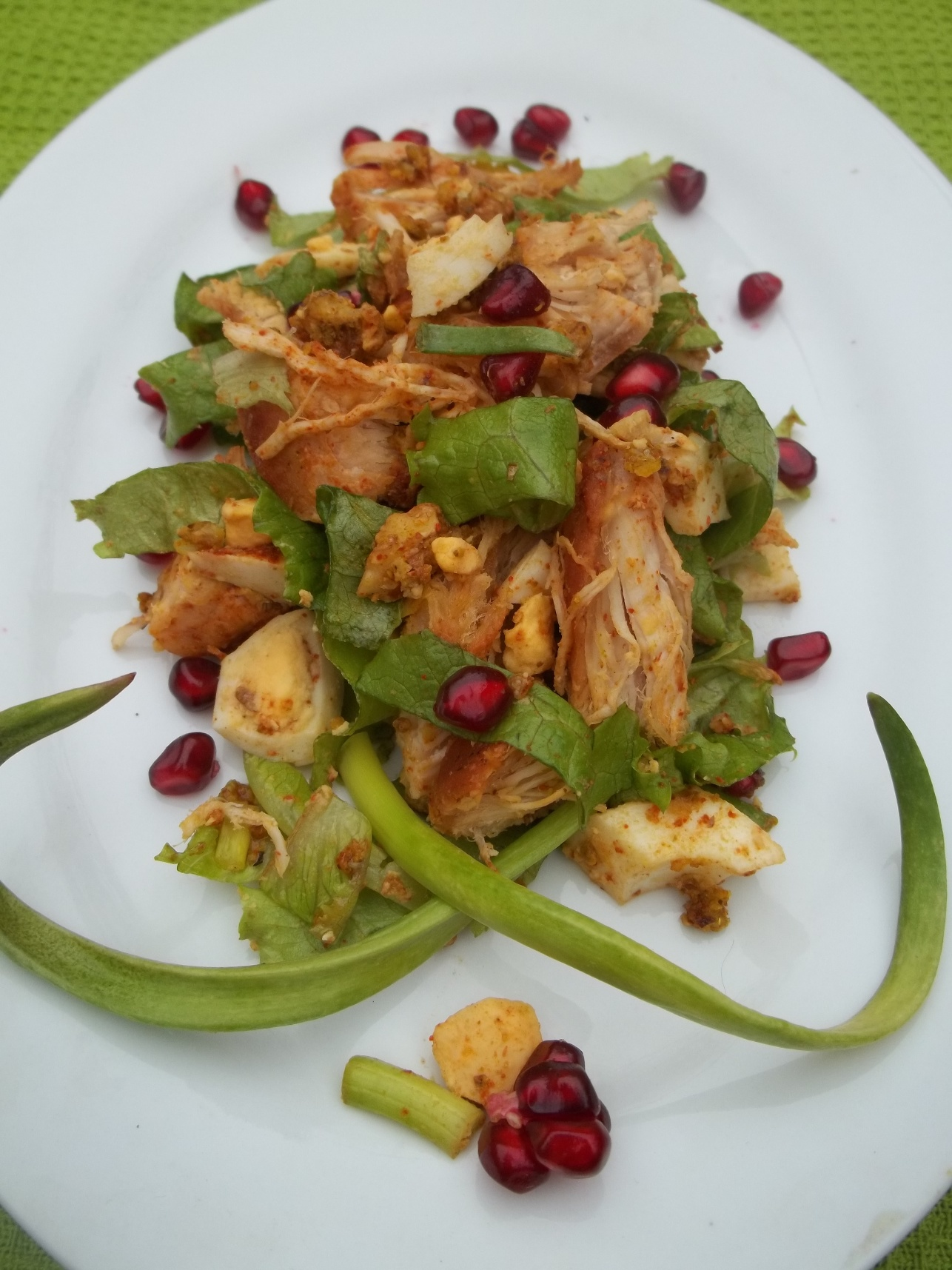 Enjoy your Chicken Salad with Walnuts and Pomegranate!