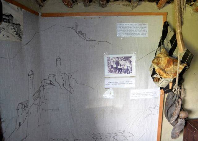 Depiction of Tushetian towers in the Tusheti Ethnography Museum of Keselo