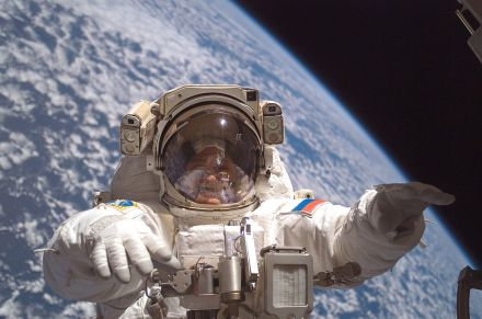 Fyodor Yuchikhin participating in his third spacewalk on July 23, 2007.