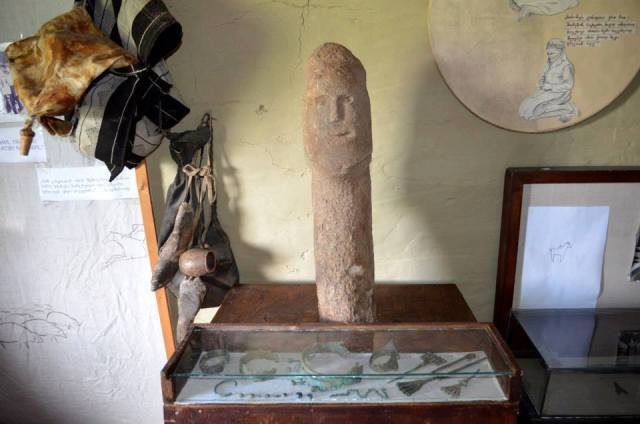 Stone Statue at the Tusheti Ethnography Museum of Keselo