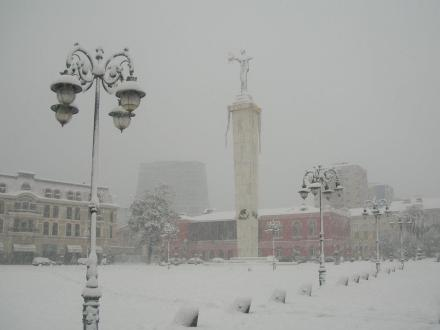 The Medea monument in winter