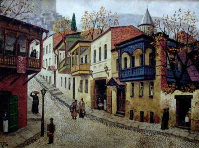 A painting of Old Tbilisi by Giovanni Vepkhvadze