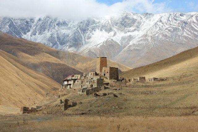 Burmasigi Village in Truso Gorge in Kazbegi National Park