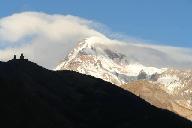 Gergeti Trinity Church and Mount Kazbegi in Kazbegi National Park