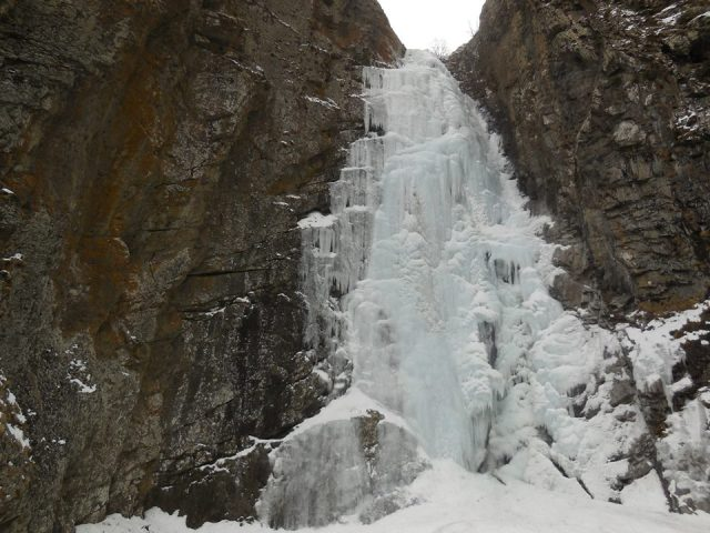 Frozen waterfall in Kazbegi National Park