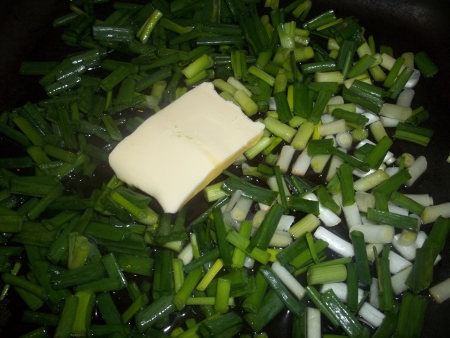 Frying Green Onions in Oil and Butter - Copy