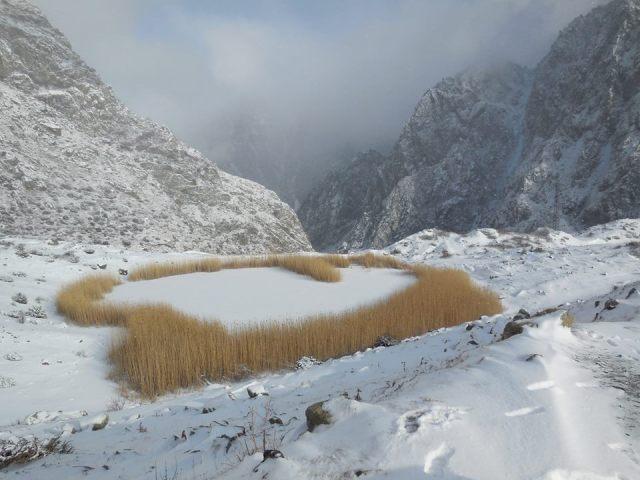 Lake Gveleti in Dariali Gorge in Kazbegi National Park