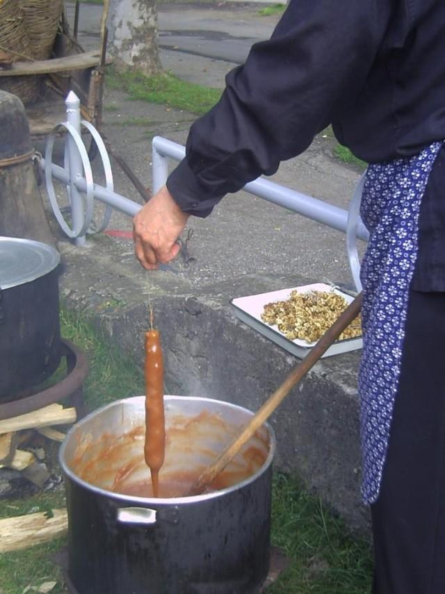 Making Churchkhela at the Bidzinaoba Festival