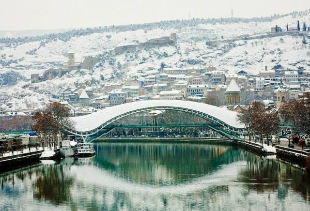 Tbilisi's Old Town and the Bridge of Peace in Winter
