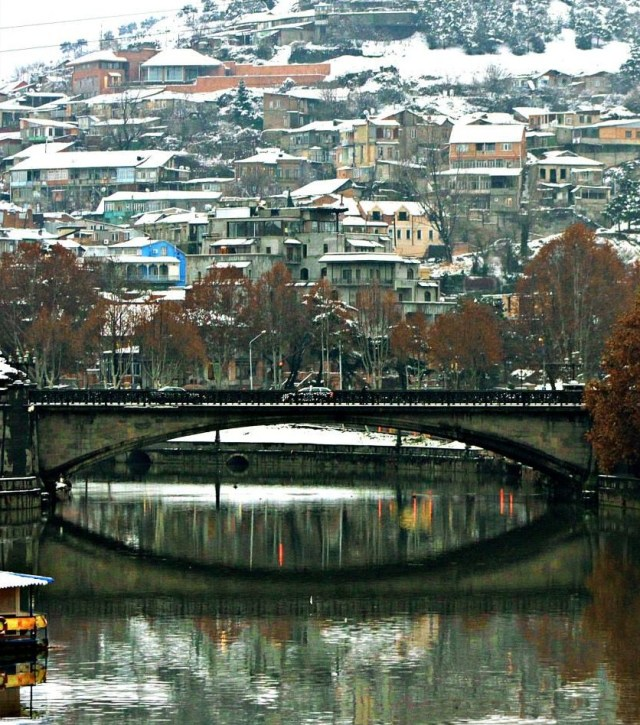 Tbilisi's Old Town and Metekhi Bridge in Winter.