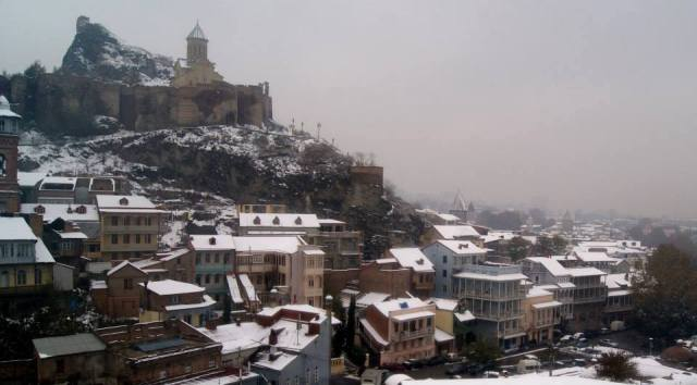 Tbilisi's Old Town and Narikala Castle in Winter