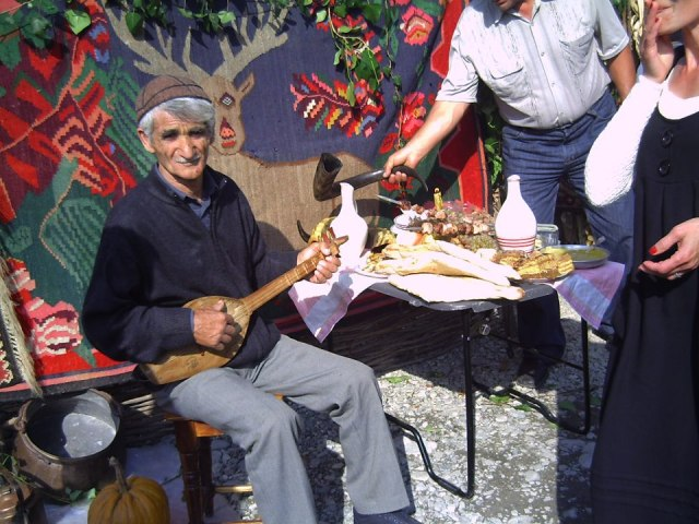 Traditional musician at the Bidzinaoba Festival