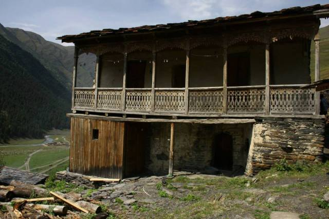 "Traditional Tushetian balconied house (""Karseani"")."