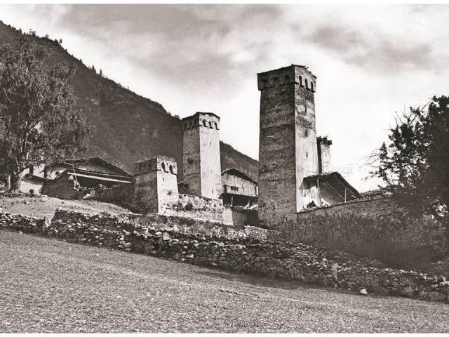 Fortified towers in the village of Mestia. 1890. Photo courtesy of  Fondazione Sella, Biella