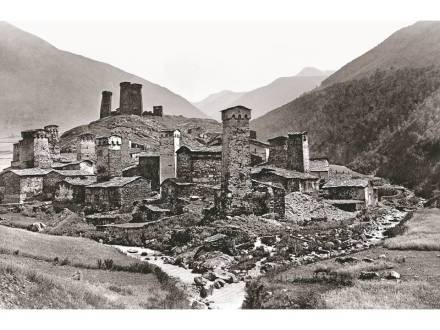 Village of Chazhashi (Ushguli) where two streams come together. 1890. Photo courtesy Fondazione Sella, Biella
